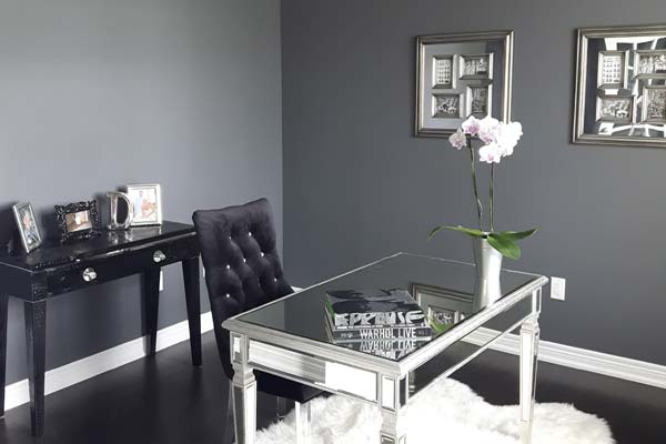 Grey walls painted dinning room
